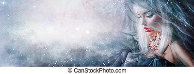schoenheit, frau, portrait., winter, aufmachung, und, frisur
