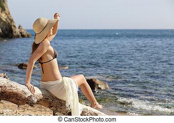 schoenheit, frau, strand, sehen vorwärts, auf, urlaube