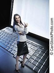 schoenheit, geschäftsfrau, auf, der, laptop