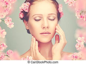 schoenheit, gesicht, von, junger, schöne frau, mit, rosa blüten