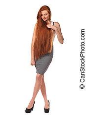 schoenheit, gesunde, langer, portrait., hair., m�dchen, rotes