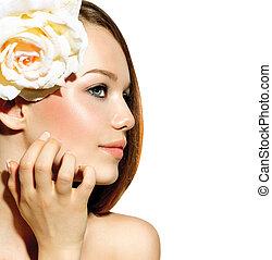 schoenheit, girl., schöne , modell, mit, rose, blume