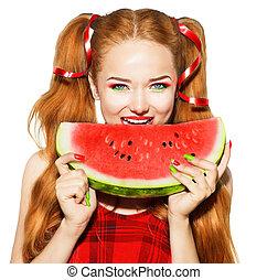 schoenheit, jugendlich, modell, m�dchen, essen wassermelone