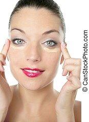schoenheit, kosmetisch, porträt, von, a, rote lippen, frau