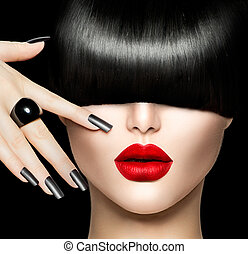 schoenheit, m�dchen, porträt, mit, poppig, haar- art, aufmachung, und, nagelkosmetik