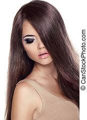schoenheit, m�dchen, portrait., mannequin, frau, mit, langer, gesunde, brauner, hair., freigestellt, weiß, hintergrund., professionell, makeup.