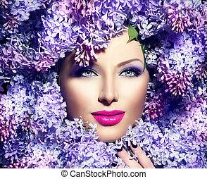 schoenheit, mannequin, m�dchen, mit, lila, blumen, frisur