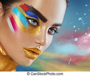 schoenheit, mode, kunst- portrait, von, schöne frau, mit, bunte, abstrakt, aufmachung