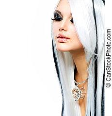 schoenheit, mode, m�dchen, schwarz weiß, style., langer, weißes haar