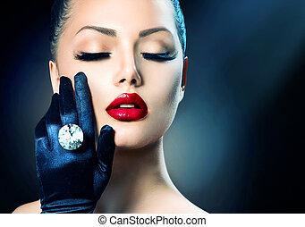 schoenheit, mode, zauber- mädchen, porträt, aus, schwarz
