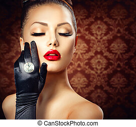 schoenheit, mode, zauber- mädchen, portrait., weinlese, stil
