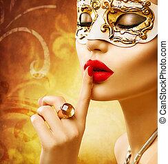 schoenheit, modell, frau, tragen, venezianisch, maskerade, karneval schablone, an, party