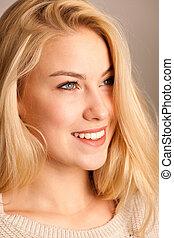 schoenheit, porträt, von, a, reizend, blond, frau