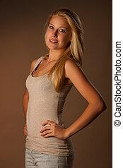 schoenheit, porträt, von, attraktive, blond, frau