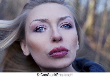 schoenheit, porträt, von, attraktive, woman.