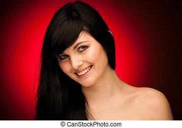 schoenheit, porträt, von, schöne frau, mit, schwarzes haar, blau, augenpaar