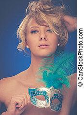 schoenheit, porträt, von, schöne , junger, blond, frau, mit, venedig, carn