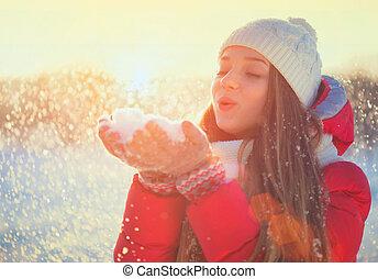 schoenheit, winter, m�dchen, spaß haben, in, winter, park