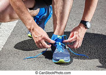 schoentjes, krijgen, loper, rennende , gereed, het proberen,...