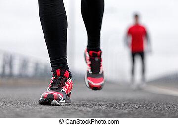 schoentjes, mannen, rennende , atleten, renners, winter