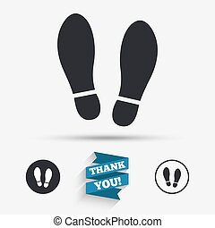 schoentjes, symbool, meldingsbord, afdruk, schoendruk, icon.