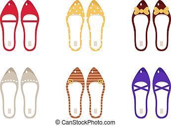 schoentjes, vrijstaand, verzameling, vector, retro, witte