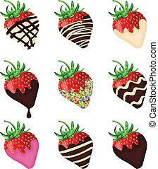 schokolade deckte, erdbeeren
