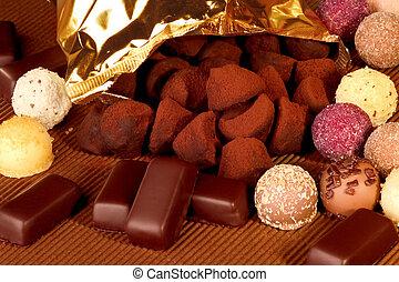 schokoladen, und, trüffeln