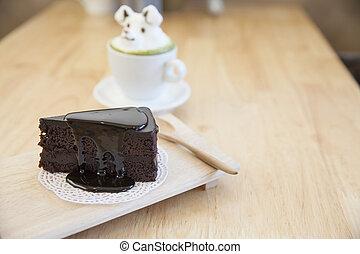 schokoladenkuchen, und, grüner tee, garnierung, gemacht, per, milchschaum, oberseite, auf, der, becher, von, heiß, grüner tee