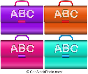Scholar briefcases with handle and ABC letters isolated over...
