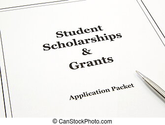 A college scholarship and grant application packet with a pen ready to start.