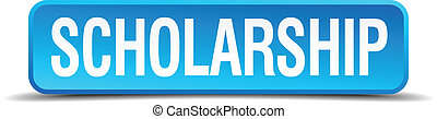 scholarship blue 3d realistic square isolated button