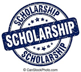 scholarship blue grunge round vintage rubber stamp