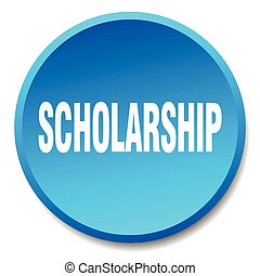 scholarship blue round flat isolated push button