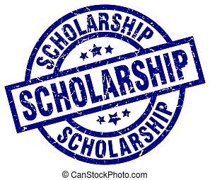 scholarship blue round grunge stamp