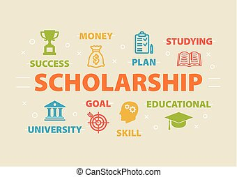Scholarship. Concept with icons. - Scholarship. Concept with...