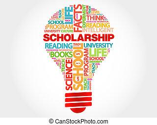 Scholarship bulb word cloud, business concept