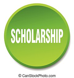 scholarship green round flat isolated push button
