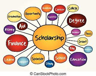 Scholarship mind map flowchart, education concept for...