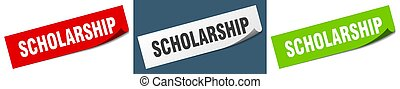 scholarship paper peeler sign set. scholarship sticker