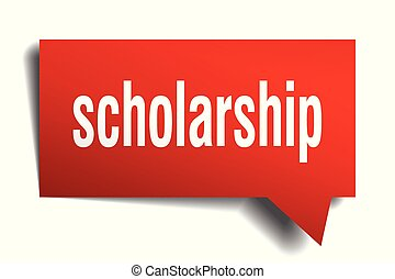 scholarship red 3d speech bubble - scholarship red 3d square...