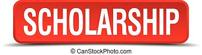 scholarship red 3d square button isolated on white