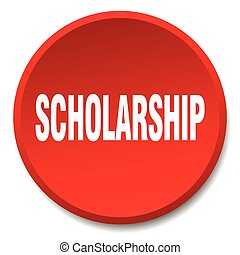 scholarship red round flat isolated push button