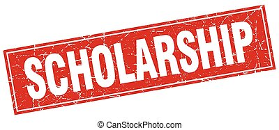 scholarship red square grunge stamp on white