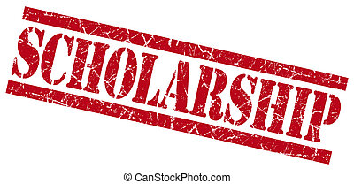 scholarship red square grunge textured isolated stamp