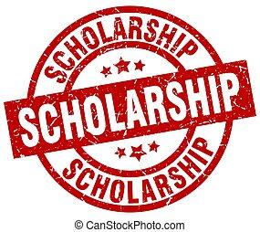 scholarship round red grunge stamp