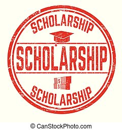 Scholarship sign or stamp on white background, vector...
