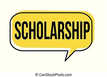 Scholarship speech bubble on white background, vector...