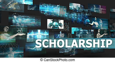 Scholarship Presentation Background with Technology Abstract...