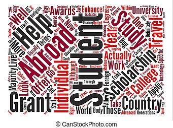 scholarships, palavra, texto, viagem, aquilo, vontade, como,...